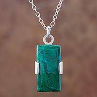 Chrysocolla pendant necklace, 'Hug' - Peruvian Chrysocolla Pendant on 925 Sterling Silver Necklace
