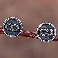 Sterling silver stud earrings, 'Infinite Possibilities' - 925 Sterling Silver Stud Earrings with Infinity Symbol