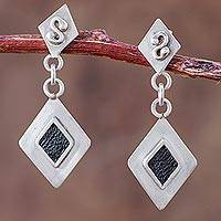 Sterling silver with leather accent dangle earrings, 'Stunning' - Sterling Silver Rhombus Earrings with Black Leather Accents