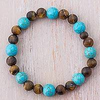 Tiger's eye beaded bracelet, 'Moonlight Blue' - Tiger's Eye and Turquoise Beaded Bracelet from Peru