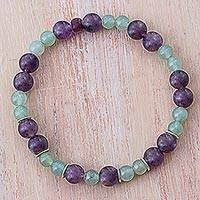 Amethyst and aventurine beaded stretch bracelet, 'Fantastic Adventure' - Amethyst and Aventurine Beaded Bracelet from Peru