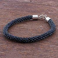 Braided leather bracelet, 'Peruvian Braid' - Sterling Silver Leather Braided Bracelet from Peru
