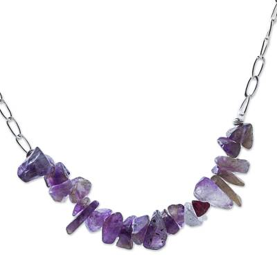 Amethyst beaded necklace, 'Wild Lilacs' - Amethyst Sterling Silver Beaded Necklace from Peru