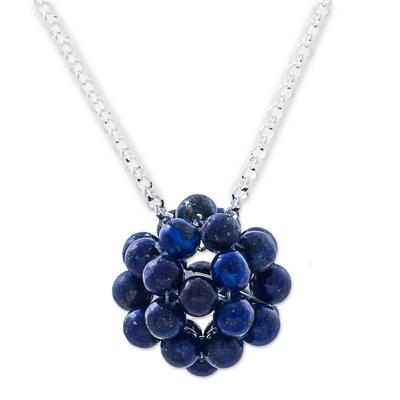 Lapis lazuli pendant necklace, 'Blueberries' - Lapis Lazuli Cluster Pendant Necklace Sterling Silver Peru