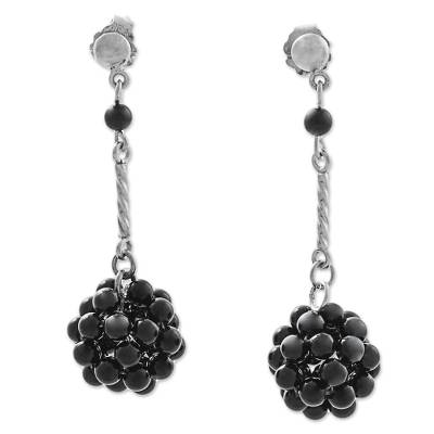 Onyx dangle earrings, 'Black Mystery' - Onyx Cluster Dangle Earrings from Peru