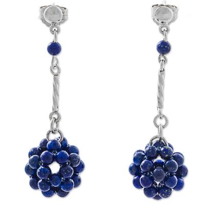 Lapis lazuli dangle earrings, 'Stellar Force in Blue' - Blue Lapis Lazuli and Silver Dangle Earring from Peru