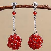 Carnelian dangle earrings, 'Stellar Force in Red'