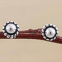 Sterling silver stud earrings, 'Abstract Floral'