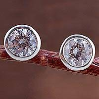 Cubic zirconia stud earrings, 'Dots of Light' - Sparkling Silver and Cubic Zirconia Stud Earrings from Peru