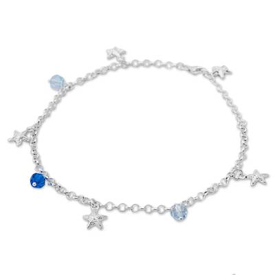Sterling silver charm anklet, 'Stars of the Sea' - Cubic Zirconia and Sterling Silver Charm Anklet from Peru