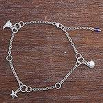 Zircon Sterling Silver Charm Bracelet Sea Life from Peru, 'Animals of the Sea'