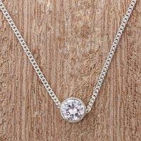 Sterling silver pendant necklace, 'Brilliant Light' - Sterling Silver Cubic Zirconia Pendant Necklace from Peru
