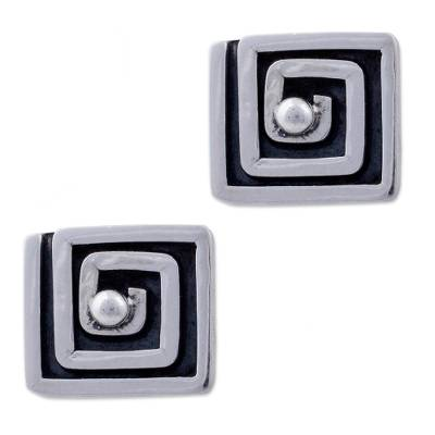 Square Sterling Silver Button Earrings Peru Artisan Jewelry