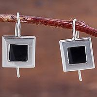 Obsidian drop earrings, 'Square Perfection' - Square Sterling Silver and Obsidian Drop Earrings from Peru