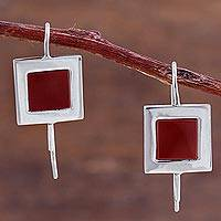 Jasper drop earrings, 'Square Perfection' - Square Sterling Silver and Jasper Drop Earrings from Peru