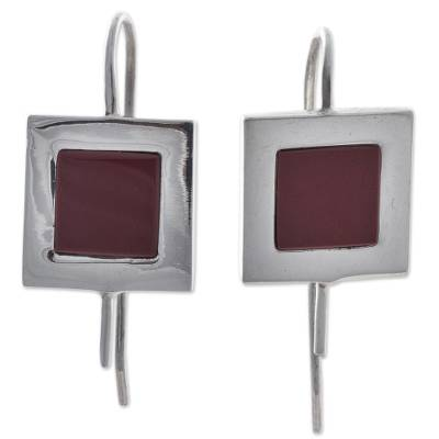 Square Sterling Silver and Jasper Drop Earrings from Peru