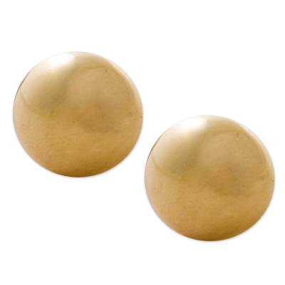 Gold plated stud earrings, 'Circles of Paradise' - Gold Plated Silver Stud Earrings Circular from Peru