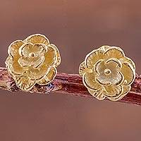 Gold plated stud earrings, 'Blooming Flowers'