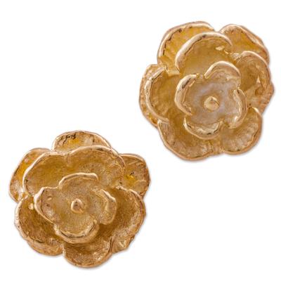 Gold plated stud earrings, 'Blooming Flowers' - Gold Plated Silver Stud Earrings Floral Shapes from Peru