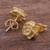 Gold plated stud earrings, 'Blooming Flowers' - Gold Plated Silver Stud Earrings Floral Shapes from Peru (image 2c) thumbail
