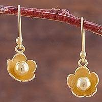Gold plated dangle earrings, 'Flower Drops' - Gold Plated Silver Dangle Earrings Floral Shapes from Peru