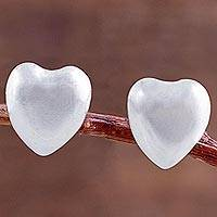Silver stud earrings, 'Signs of Love' - Heart Shaped 950 Silver Stud Earrings from Peru