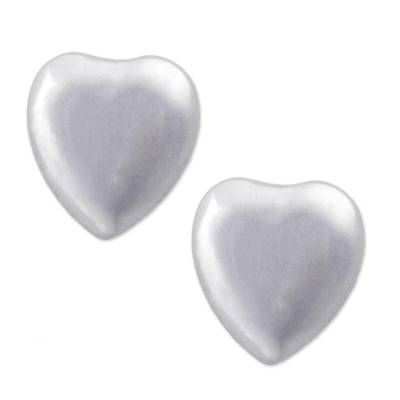 Sterling silver stud earrings, 'Signs of Love' - Heart Shaped 925 Silver Stud Earrings from Peru