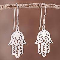 Sterling silver dangle earrings, 'Hamsa Hand of Fatima' - Sterling Silver Hamsa Hand of Fatima Earrings Peru Jewelry