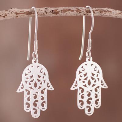 c11f4db00 Sterling silver dangle earrings, 'Hamsa Hand of Fatima' - Sterling Silver  Hamsa Hand