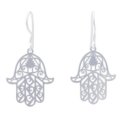 Sterling silver dangle earrings, 'Hamsa Hand of Fatima' - Sterling Silver Hamsa Hand of Fatima Earrings Peru Jewelry