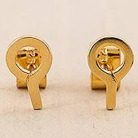 Gold plated stud earrings, 'Questions' - Gold Plated Silver Stud Earrings in Shape of Question Mark