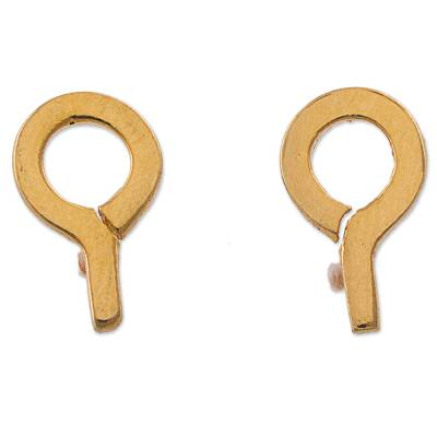 Gold Plated Silver Stud Earrings in Shape of Question Mark