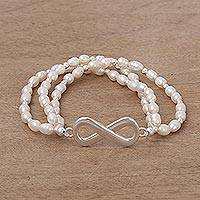 Cultured pearl stretch bracelet, 'Beaded Infinity' - Cultured Pearl Silver Beaded Bracelet Infinity from Peru