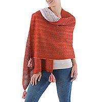 100% alpaca shawl, 'Puno Paprika' - Paprika and Off White Shawl Alpaca Wrap from Peru