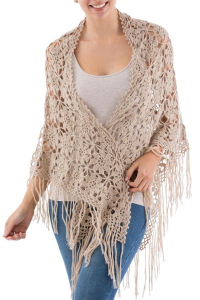100% alpaca shawl, 'Andean Flower' - Hand Crocheted 100% Alpaca Shawl with Fringes from Peru