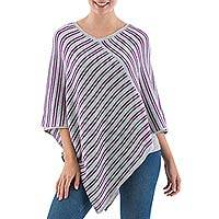 Alpaca blend poncho, 'Pearl Grey Mariner' - Knit Alpaca Blend Striped Poncho in Pearl Grey from Peru