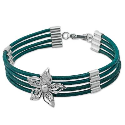 Sterling Silver and Green Leather Flower Pendant Bracelet