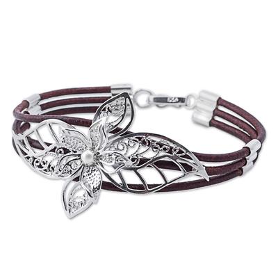 Sterling silver filigree pendant bracelet, 'Florid Lily in Brown' - Sterling Silver and Brown Leather Flower Bracelet