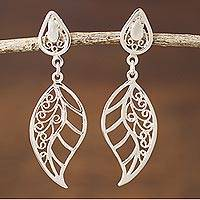 Sterling silver filigree dangle earrings, 'Afternoon Leaf' - Sterling Silver Dangle Earrings Leaf Shape from Peru