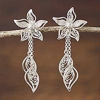 Sterling silver filigree dangle earrings, 'Amaryllis Flowers'
