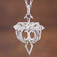 Sterling silver filigree pendant necklace, 'Angel Cross'