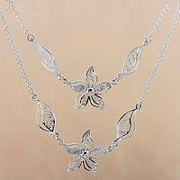 Sterling silver filigree pendant necklace, 'Amaryllis Flowers' - Sterling Silver Pendant Necklace Flowers Leaves from Peru