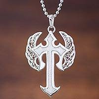 Sterling silver filigree pendant necklace, 'Winged Cross'