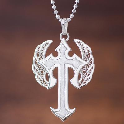 Sterling silver filigree pendant necklace, 'Winged Cross' - Sterling Silver Pendant Necklace Cross from Peru