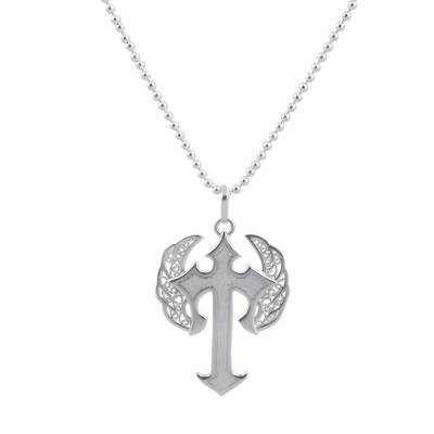 Sterling silver filigree pendant necklace, 'Winged Cross' - Sterling Silver Pendant Necklace Cross from Peru