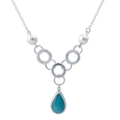 Amazonite pendant necklace, 'Teardrop Circles' - Sterling Silver Amazonite Pendant Necklace from Peru