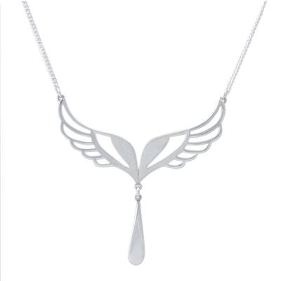 Sterling silver pendant necklace, 'Protection Wings' - Hand Made Sterling Silver Wing Pendant Necklace from Peru