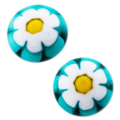 Chamomile Blown Glass Studs with 925 Silver Posts