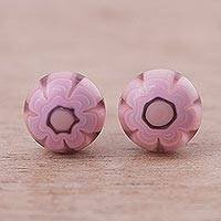 Blown glass flower stud earrings, 'Pink Chamomile' - Pink Chamomile Blown Glass and Silver Stud Earrings