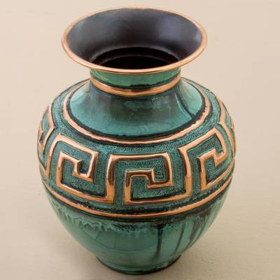 Copper and bronze decorative vase, Andean Character